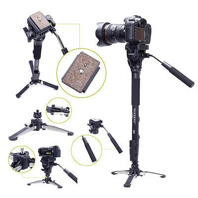 Heavy Duty YUNTENG 288 Camera Monopod + Fluid Pan Head + Unipod Holder DSLR SLR