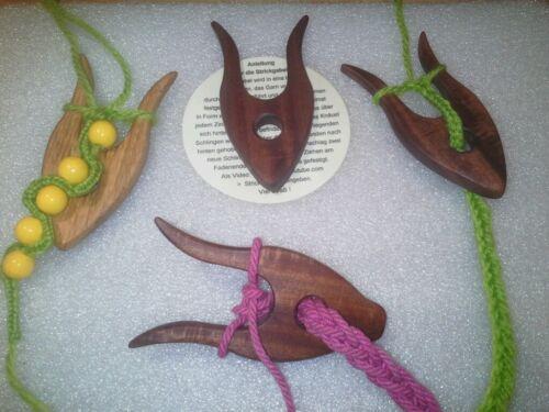 Brève Lucet en bois foncé Petit tricot Fourche doigt Tricoter Knitting tricoter