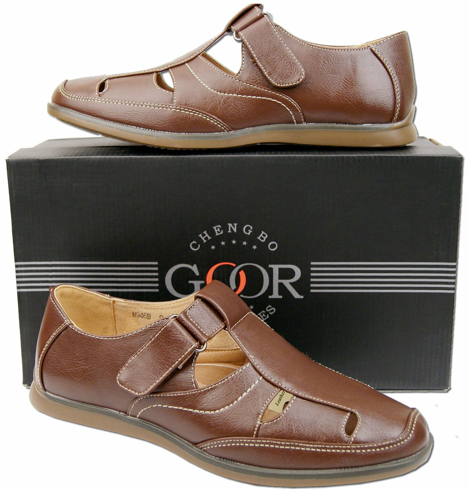 Mens New braun Leather Lined Closed Toe Beach Sandals Free UK Postage