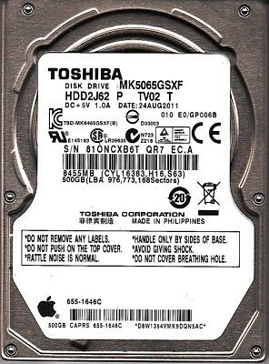 Toshiba MK5065GSXF HDD2J62 P TV02 T 010 E0//GP006B Apple#655-1646C 500gb Sata