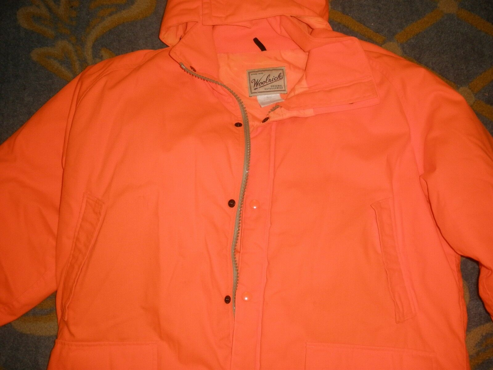 HUNTING Woolrich Original Orange Outdoorwear Hood Coat Thermolite Plus Large Orange Original 82c97d