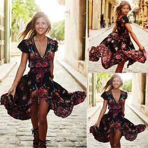222c71a1e00 Women Long Boho Maxi Evening Party Dress Chiffon Dress Summer Beach ...