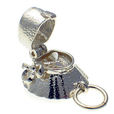 British Welded Bliss Sterling 925 Silver Charm Bee in Victorian Bonnet Hat Opens