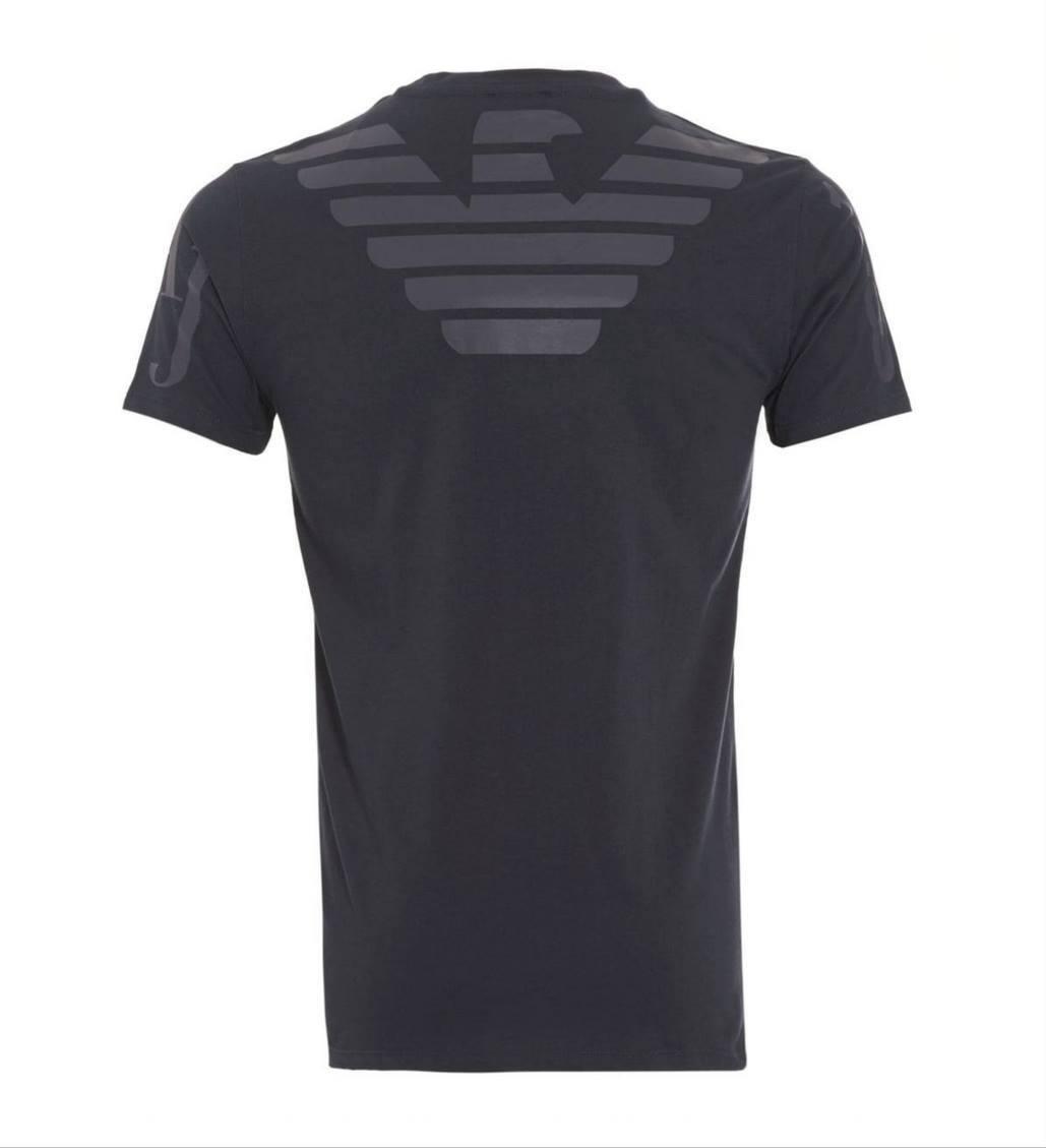 ARMANI JEANS UOMO NERO GRANDE AQUILA LOGO SUL RETRO T-Shirt Tutte Le Taglie Nuovo Con Etichetta
