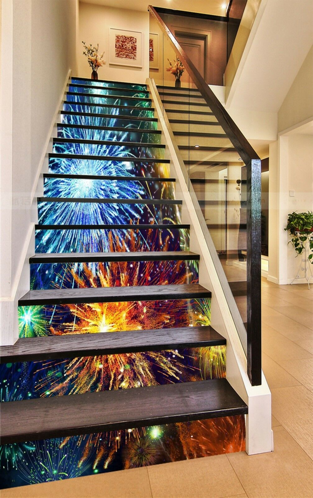 3D Feuerwerk 1317 Stair Risers Dekoration Fototapete Vinyl Aufkleber Tapete DE