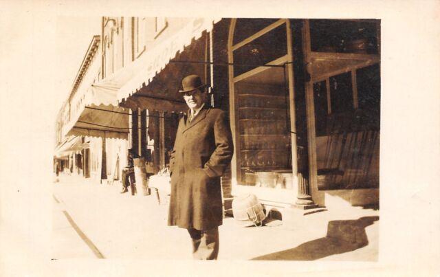 Real Photo Postcard~Dapper Gentleman~Shoe Store & Hardware~Bushel Baskets~c1912