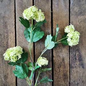 Stem Of 4 Green Artificial Snowball Hydrangeas Viburnum Faux Silk