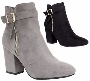 Ladies-Womens-Mid-High-Block-Heels-Casual-Buckle-Chelsea-Ankle-Boots-Shoes-Size