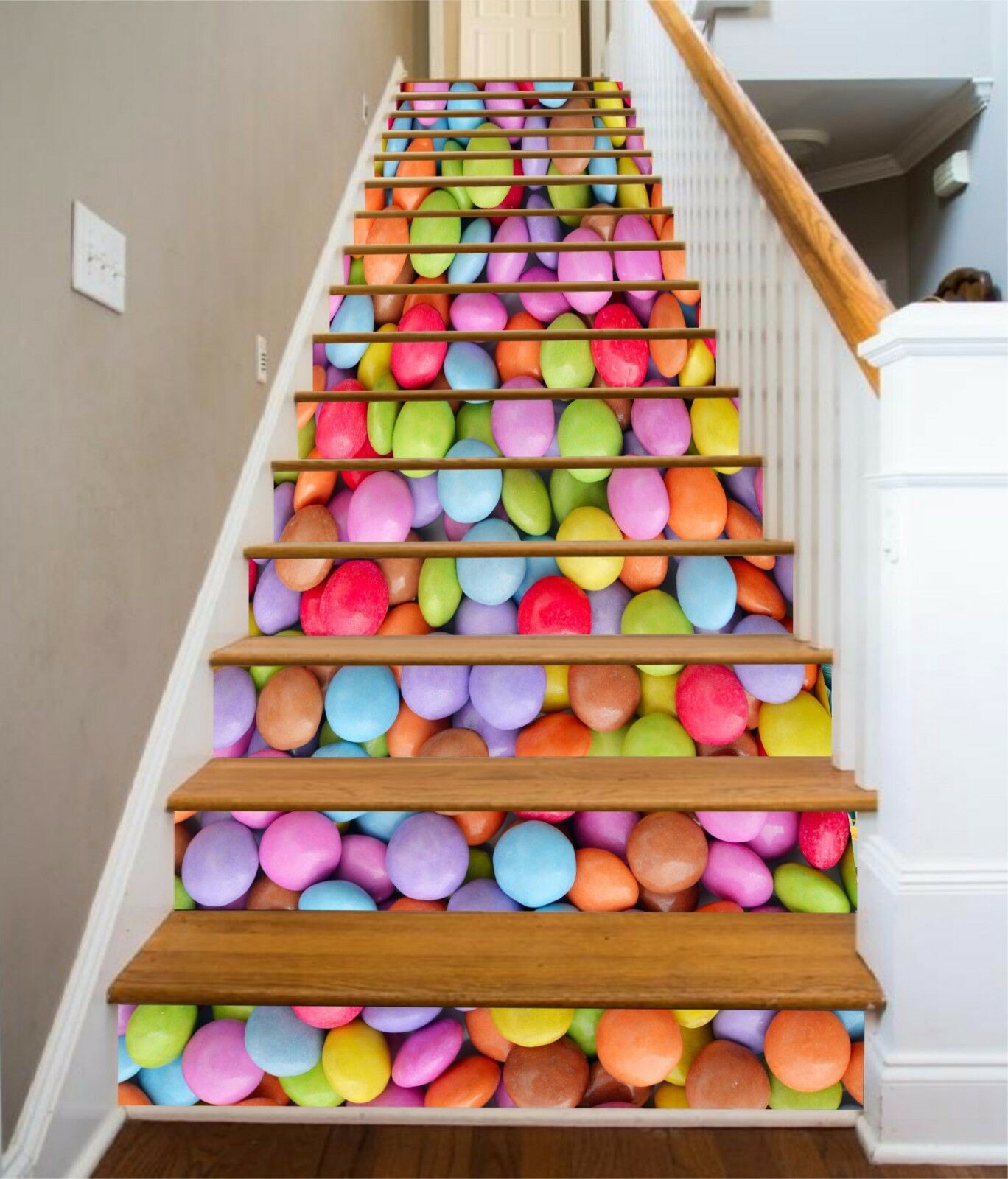 3D colord candy 37 Stair Risers Decoration Photo Mural Vinyl Decal Wallpaper UK