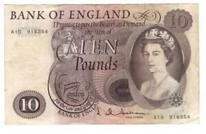 ENGLAND-10-Pounds-VF-XF-Banknote-1964-1966-P-376a-Prefix-A10-Hollom-Signature