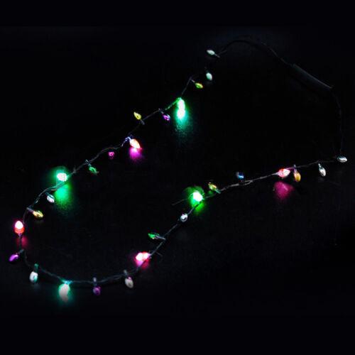 1 Pcs Flashing Light-up Blinking Christmas Lights Costume Necklace 8 LED Bulbs