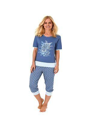 Wunderbarer Damen Capri Pyjama kurzarm in tollem Design auch in Übergrössen