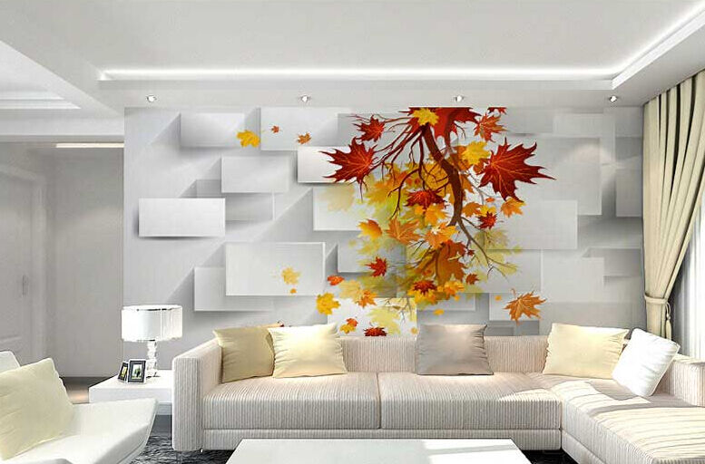 3D rot Maple Wall Paper Wall Print Decal Wall Wall Wall Deco Indoor wall Mural Home ca7b6d