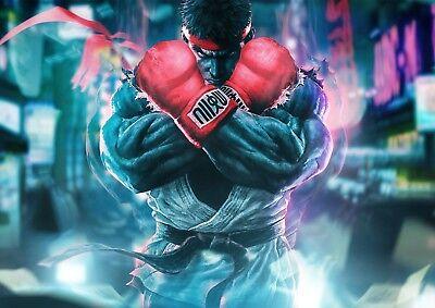 Mente Abierta Stickers Autocollant Transparent Poster A4 Street Fighter Ryu Bueno Para La EnergíA Y El Bazo