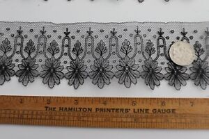 Antique-c1870-French-Handmade-Black-Chantilly-Lace-Swatch-Dolls-L-34-034-XDepth-2-5-034