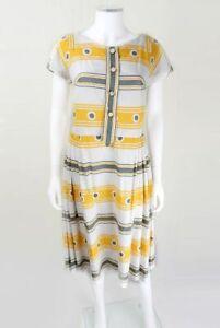 1950 S Original Vintage Acide Jaune Imprimé Jour Robe Taille Uk 12, 50 S Robes
