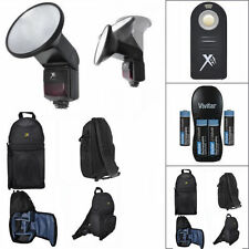 PRO FLASH + REMOTE + CHARGER + BACKPACK  FOR CANON EOS REBEL T3 T5 T6 SL1 X
