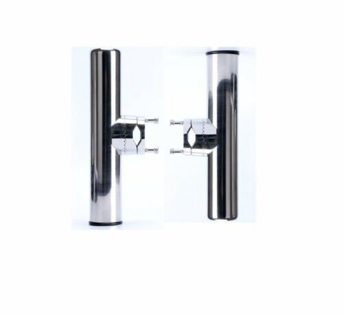 """2X Stainless Steel Fishing Rod Holder Clamp for 3//4/"""" to 1/"""" Rail Mount"""