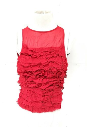 Topshop Womens Top Red Buckle Frill Ruffle Vest Top blouse sheer RRP £32