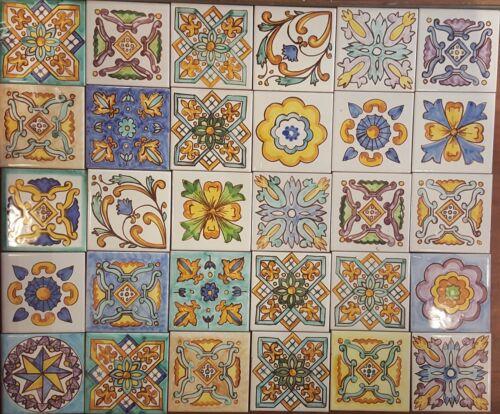 Lotto 30 Mattonella Piastrella 20x20 ceramica Vietri Patchwork 100/% FATTE MANO