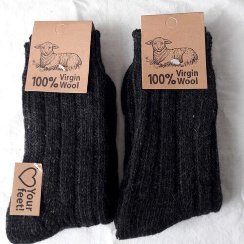 New 2 Paar Herren Wollsocken 100% Virgin Wolle weich und warm anthrazit 39 bis 46 free shipping