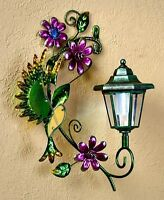 Hummingbird Solar Lighted Wall Light Lantern Patio Deck Fence Yard Garden Decor