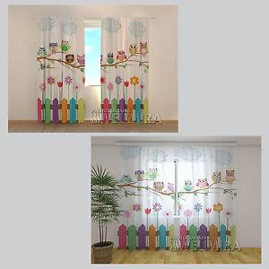 funny owl eule fertigschal gardine vorhang dekoschal gardinenband wellmira ebay. Black Bedroom Furniture Sets. Home Design Ideas