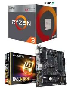 Details about AMD RYZEN 3 2200G Quad-Core 3 5 GHz APU + GIGABYTE B450M DS3H  Motherboard Combo