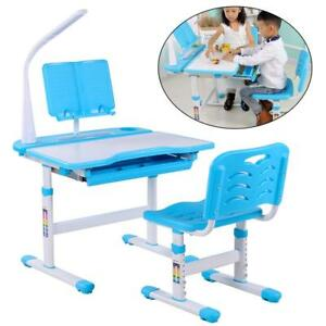 Wondrous Details About Children Kids Study Table Chair Set Led Lamp Desk Height Adjustable Blue Uk Gmtry Best Dining Table And Chair Ideas Images Gmtryco