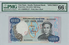 VIETNAM SOUTH - SPECIMEN 1000 DONG 1975 PICK# 34As PMG-66 EPQ ( #688 )