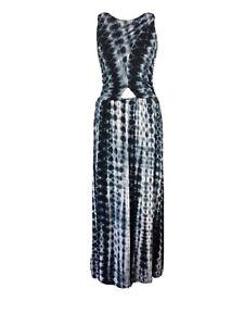 Topshop-Size-8-Maxi-Dress-Long-Tie-Dye-Black-Blue-Cut-Out-Summer-Festival-Boho