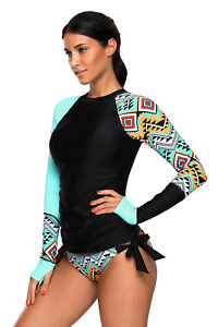 Women-Long-Sleeve-UV-Sun-Protection-UPF-50-Rash-Guard-Top-2-Piece-Swimsuit-Set