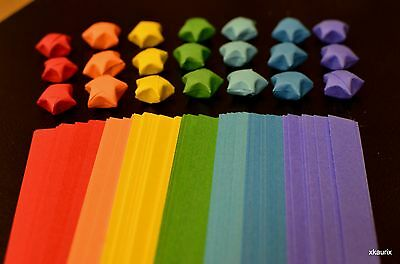 Origami Lucky Paper Star Strips/Ribbons RAINBOW COLORS - US Seller