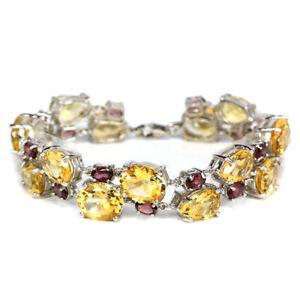 56-40CT-REAL-12X10-MM-YELLOW-CITRINE-RHODOLITE-STERLING-925-SILVER-BRACELET-8-75