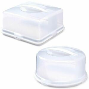 Plastic Cake Box Carrier Storage Container with Handle Locking Lid Round Square