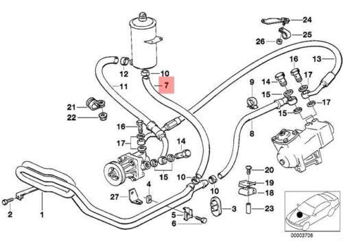 Genuine BMW E34 Sedan Wagon Hydro Steering Oil Pipe Hose OEM 32412226396