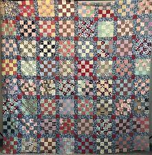 Vintage QUILT TOP Sixteen Patch 1950s Fabrics Hand-Pieced
