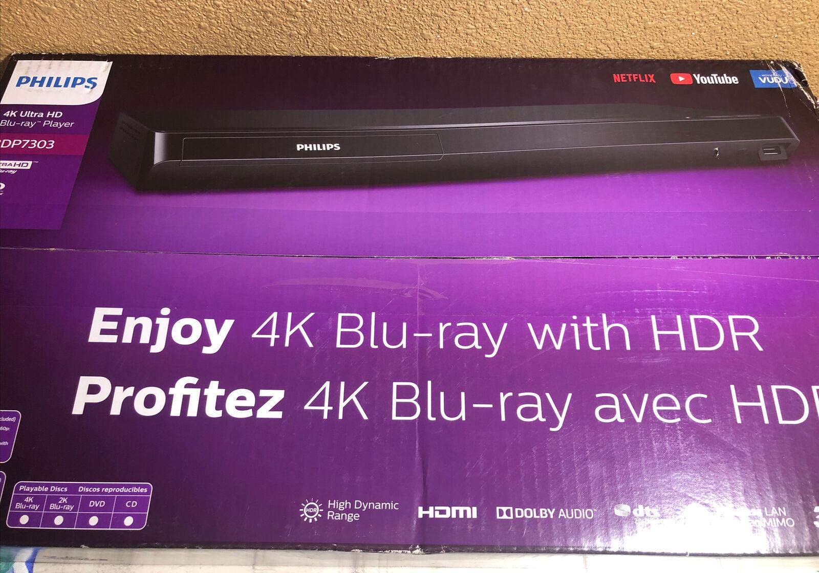 Philips BDP7303 4K UHD WiFi Streaming Blu-Ray Player New in Box bdp7303 box new philips player streaming uhd wifi