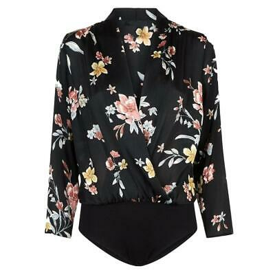 Ex River Island Blue Scalloped Laced Floral Printed Top Size 6 8 10 12 14 16