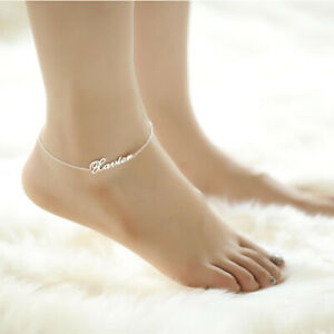Summer Nameplate Anklet Customized Jewelry Custom Name Anklet Stainless Steel Chain Name Anklet Dainty Nameplate Anklet