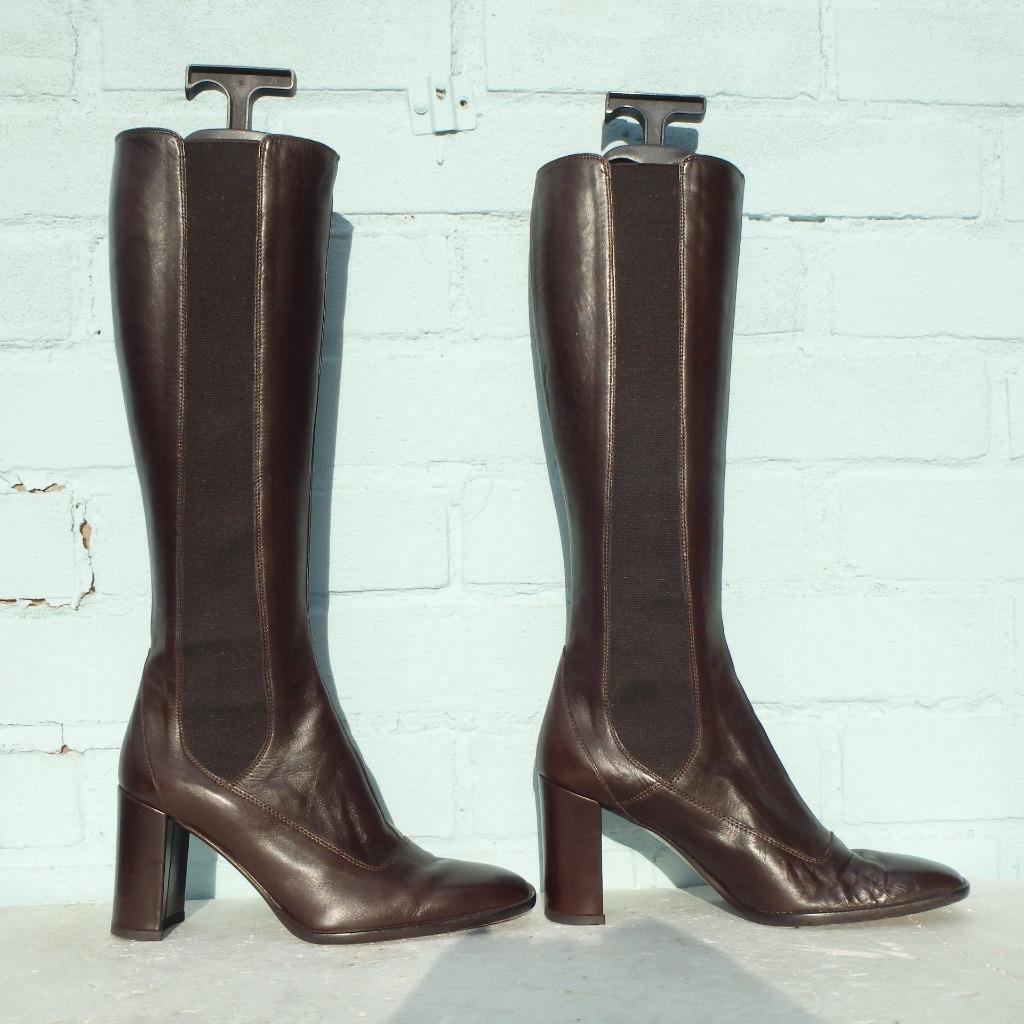 MARILYN ANSELM Leather Stiefel Uk 3 Eur 36 Pull on Elasticated Hobbs braun Stiefel