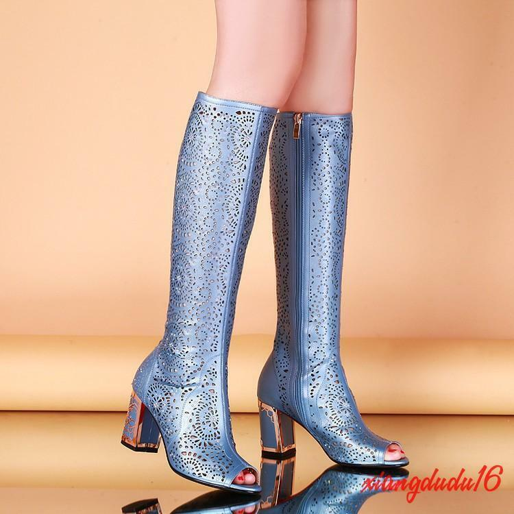 Ladies Gladiator Peep toe Hollow out Breathable Chunky Side zip Mid-calf boots