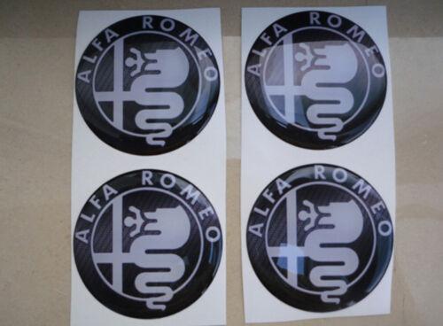 TUNING ADESIVO STICKERS 3D X 4 PZ 60 mm ALFA ROMEO LOGO GOMMATI RESINATI 3M CAPS