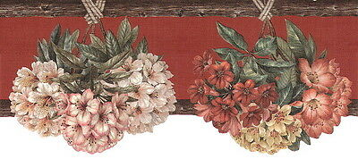 Red Tropical Rustic Wood Country Scalloped Flower Bouquets Wall Wallpaper Border