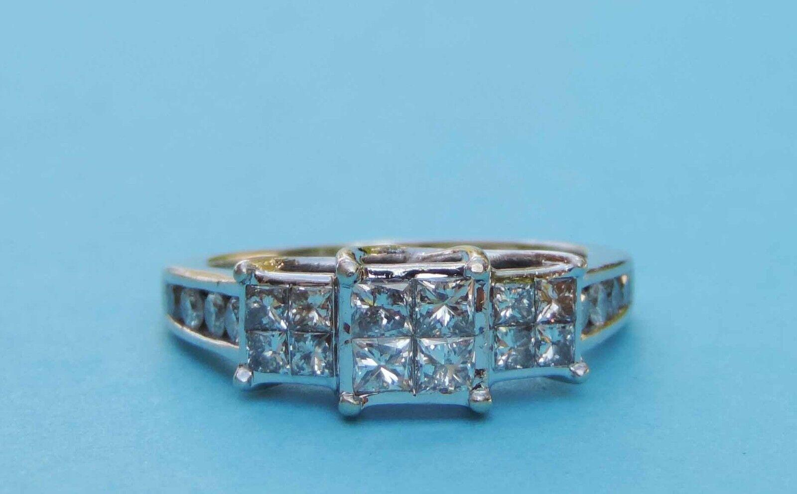 Ladies Princess Diamond Cluster Ring - 1 Carat Total Weight - 10k White gold