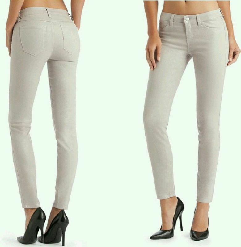 GUESS BRITTNEY ANKLE SKINNY JEANS IN DISCOBALL COATED PEARLIZED WASH