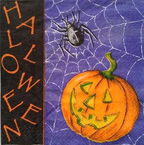Details about 3X Paper Design Napkins Decoupage Craft Tissue Pumpkin Spider  Halloween Party