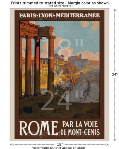 Vintage French Railways Travel Poster 6 sizes, matte+glossy avail PLM Rome