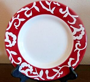 Image is loading Sandra-by-Sandra-Lee-Stoneware-Damask-Dinner-Plates- & Sandra by Sandra Lee Stoneware Damask Dinner Plates x1 Red White ...