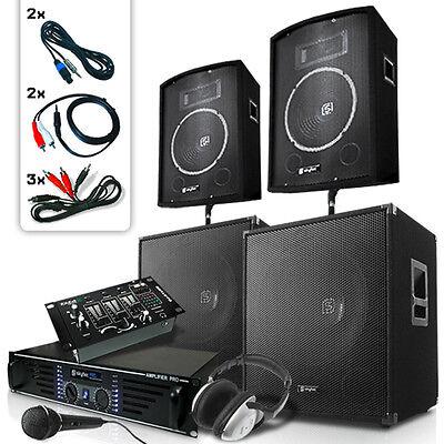 DJ PA SET USB MISCHPULT BOXEN SUBWOOFER ENDSTUFE ANLAGE